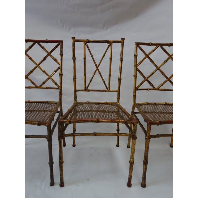 Italian Faux Bamboo Gold Dining Chairs - S/4 - Image 3 of 8
