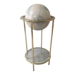 Vintage Globe With Glass Shelf