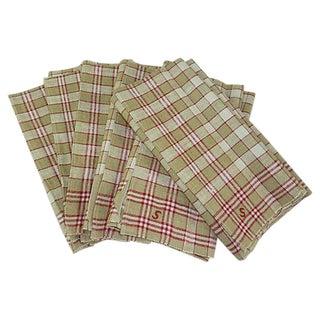 Red & Brown Linen Monogrammed Towels - Set of 6