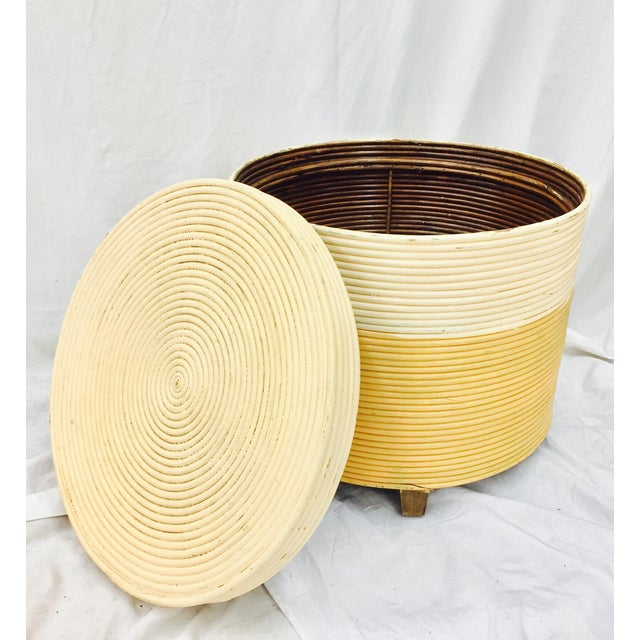 Vintage Wrapped Rattan Side Table with Storage - Image 2 of 8