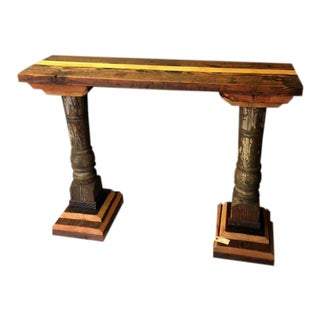 Console Table Made From Reclaimed Wood & Architectural Columns