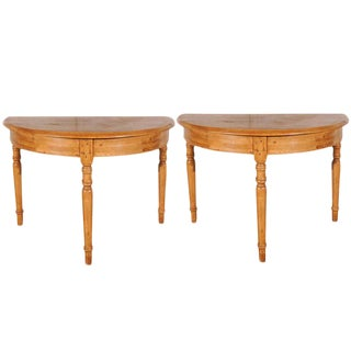 Antique Pine Demi-Lune Tables - A Pair