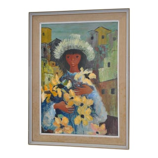 Jose de Rokha (Chile, b.1927) Girl w/ Flowers Oil Painting c.1960