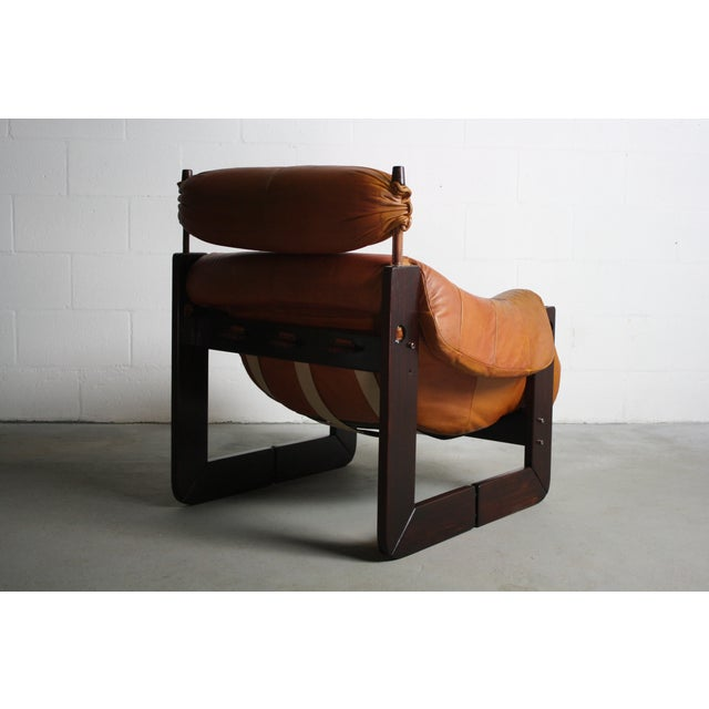 Percival Lafer Rosewood Tan Leather Lounge Chair - Image 8 of 11