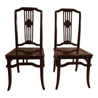 Asian Wooden Dining Chairs - A Pair