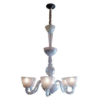 1940s Era Hand Blown Italian Glass Chandelier