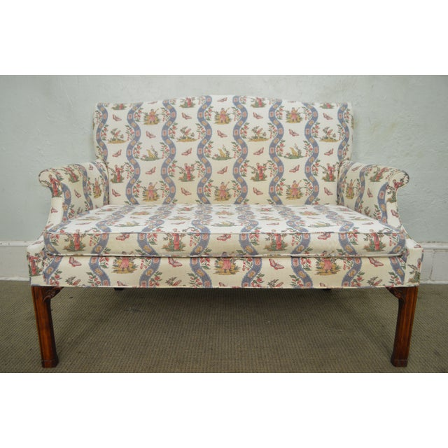 Custom Quality Chippendale Style Loveseat - Image 8 of 10