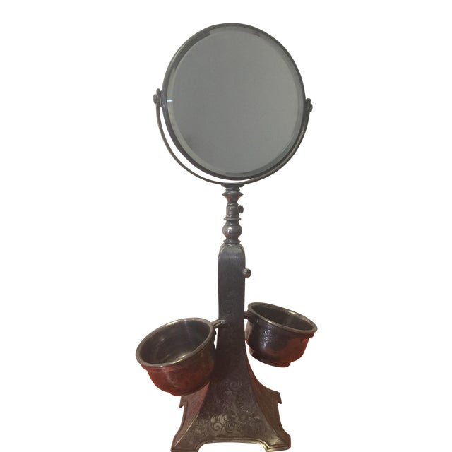 Image of 1930's Silver Plated Shaving Mirror