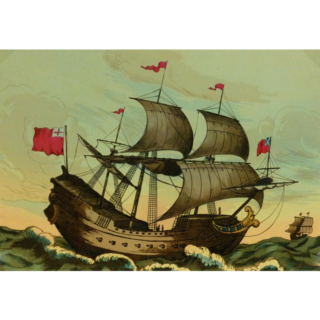 European Sail Boat Woodcut - Image 1 of 3