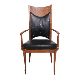 Set of 4 Walnut & Leather Mid-Century Dining Chairs