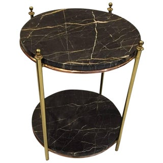 Jacques Adnet French Art Deco Marble, Brass and Copper Table