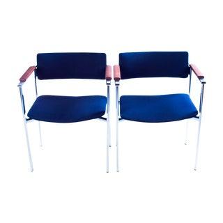 Ilmari Tapiovaara Kiki Blue Armchairs - A Pair