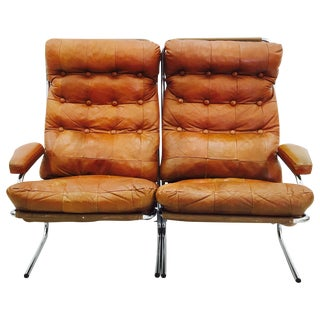 Vintage Brown Leather & Chrome Loveseat