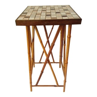 Mid-Century Tiled Bamboo Table Stand