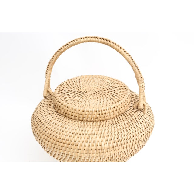 Large Vintage Hand-Woven Herb Basket with Handle - Image 4 of 6