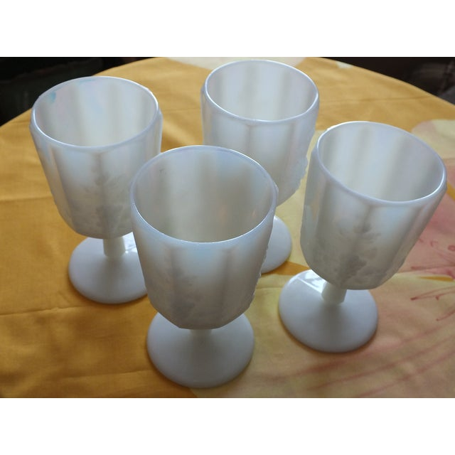 White Opalescent Glass Paneled Grape Goblets - S/4 - Image 5 of 9