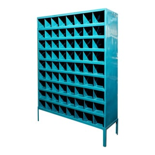 Turquoise Refinished Industrial Storage Wine Rack