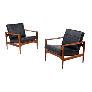 Restored Teak and Leather Illum Wikkelso Chairs - a Pair