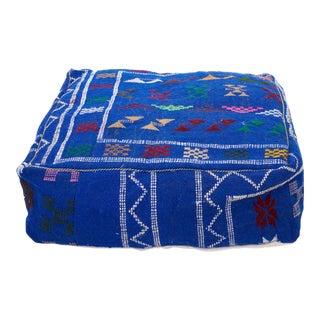 Moroccan Cornflower Blue Wool Pouf