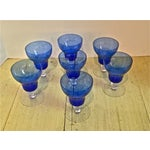 Image of Venetian Mouth Blown Cobalt Wine Stems - S/7