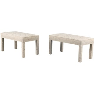 Speckled Wool Parsons Benches - A Pair
