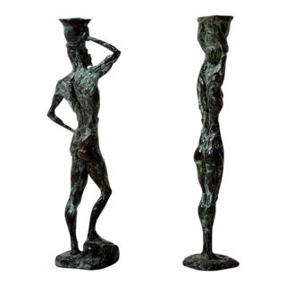 Pair of Mid-Century Modern Bronze Sculpture Holders