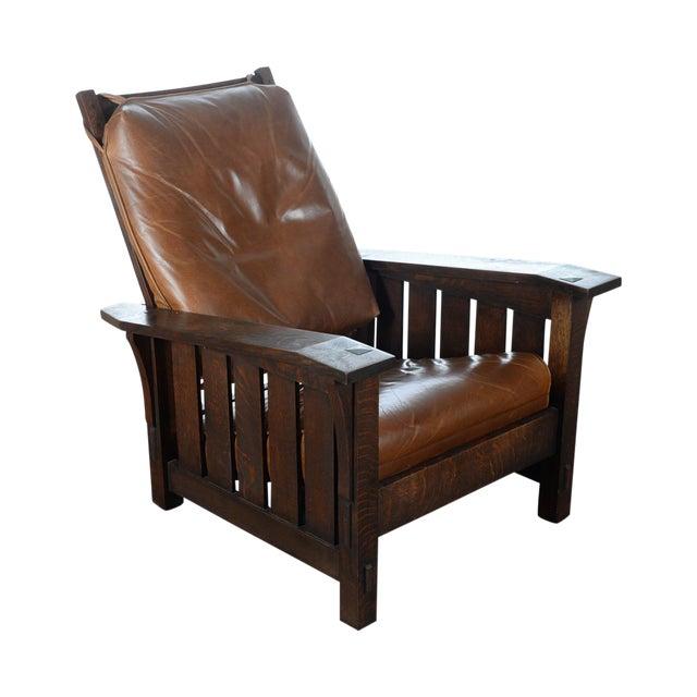 Warren Hile Studio Oak Morris Chair, Brown Leather - Image 1 of 10