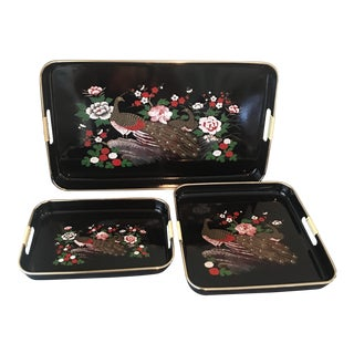 Mid-Century Japanese Peacock Serving Trays - Set of 3