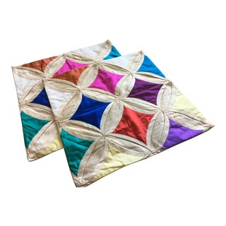 Geometric Diamond Accent Pillow Covers - A Pair