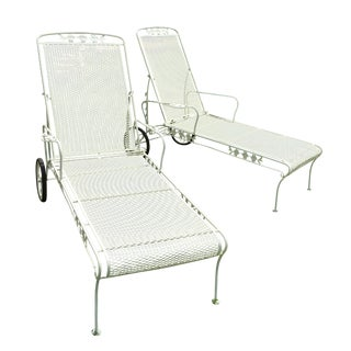 Vintage Wrought Iron Chaises - Pair