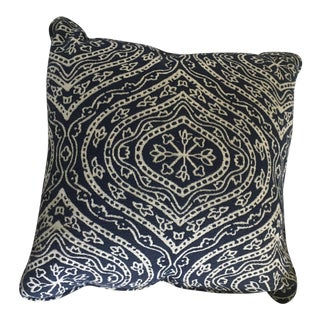Navy & White Patterned Pillow