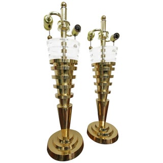 Regency Stacked Brass & Lucite Lamps - A Pair