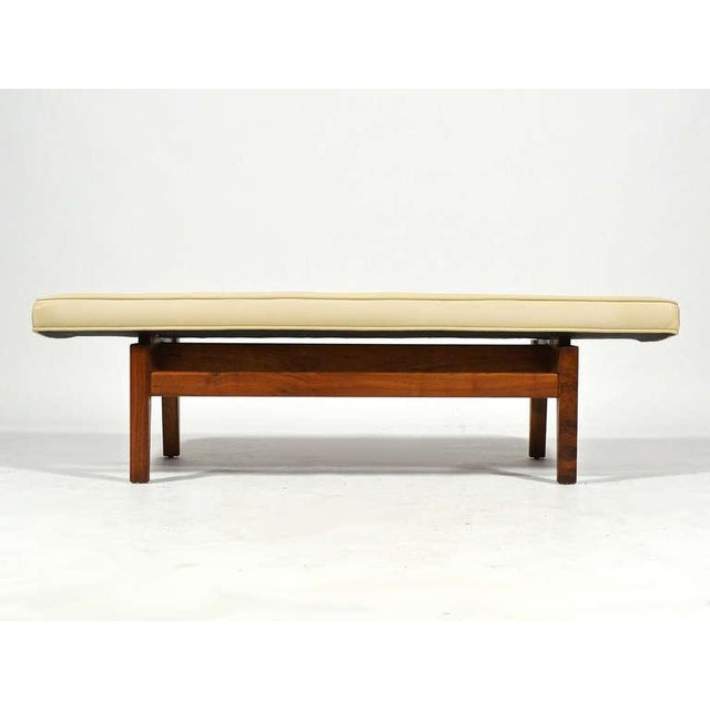 Jens Risom Floating Bench with Leather Seat - Image 7 of 9