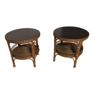 Palecek Rattan Presidents Collection Side Tables - A Pair