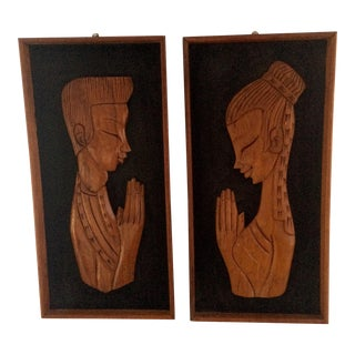 Mid-Century Teak Prayer Art - A Pair
