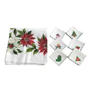 Poinsettia Flowers Tablecloth & Cocktail Napkins - Set of 7