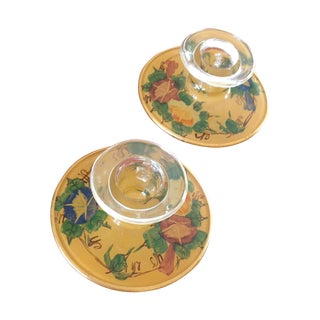 Vintage Reverse Paint Candle Holders - A Pair