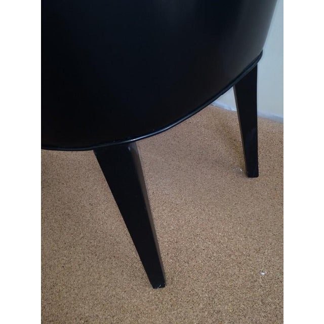 Baker Replica Black Leather Dining Chairs - A Pair - Image 5 of 8