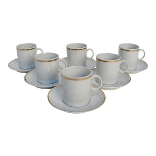 White Porcelain Demitasses & Saucers, 12 Pieces