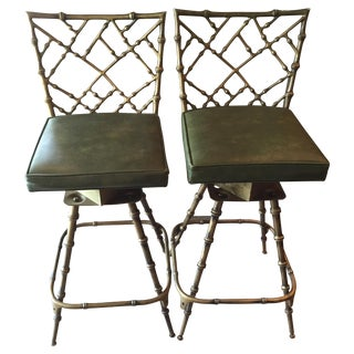 Chinoiserie Metal Bamboo Bar Stools - A Pair