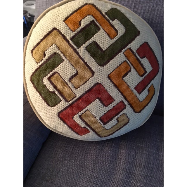 1970's Geometric Needlepoint Pillow - Image 4 of 4
