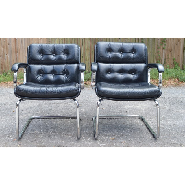 Mid-Century Leather & Chrome Club Chairs - a Pair - Image 2 of 7