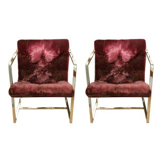 Milo Baughman Square Framed Lounge Chairs - a Pair