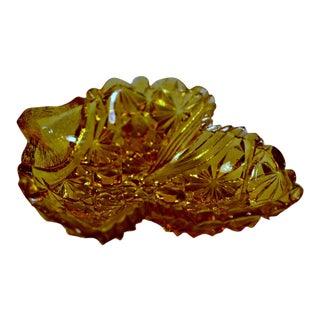 Grape Leaf Amber Pressed Glass/Open Salt