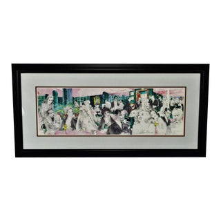 """Vintage 1988 Framed LeRoy Neiman Signed Lithograph """"Polo Lounge"""""""