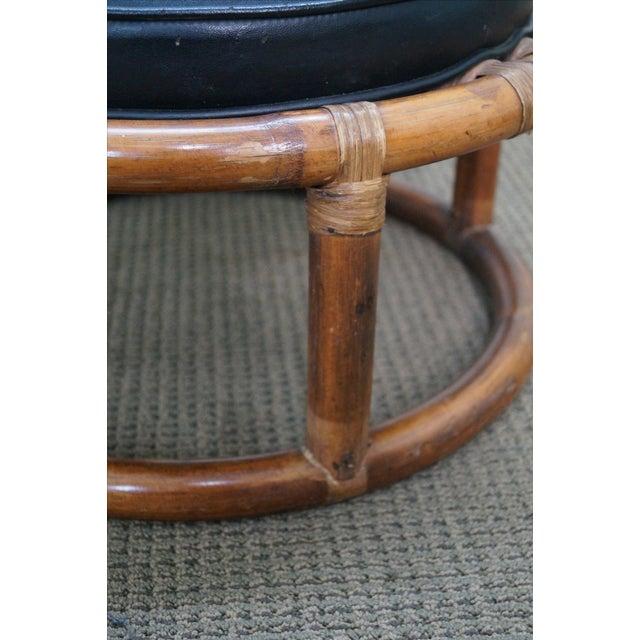 Vintage Round Rattan Bamboo Ottoman Footstool Chairish