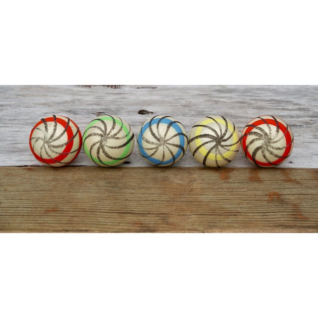 Striped West German Christmas Ornaments - Set of 5 - Image 7 of 11