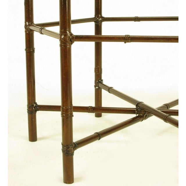 Iron Bamboo-Form Coffee Table With Brass Rimmed Glass Tray - Image 3 of 7