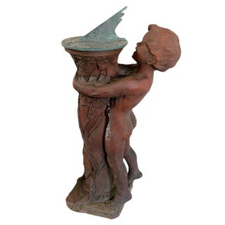 Terracotta Child & Sundial Garden Figure