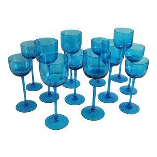 Vintage Hand Blown Long Stemmed Wine Glasses - Set of 12